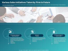 Various Sales Initiatives Taken By Firm In Future Ppt Powerpoint Presentation Infographics Rules
