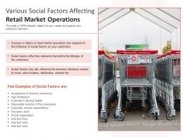 Various Social Factors Affecting Retail Market Operations