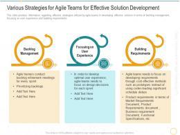 Various Strategies For Agile Teams Digital Transformation Agile Methodology IT