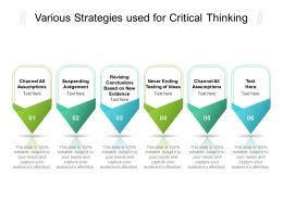 Various Strategies Used For Critical Thinking