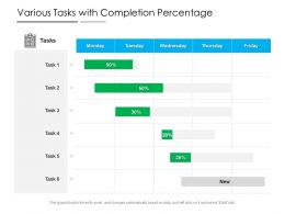 Various Tasks With Completion Percentage