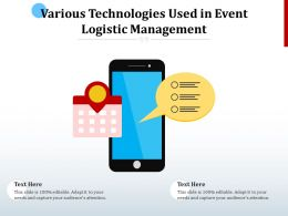 Various Technologies Used In Event Logistic Management