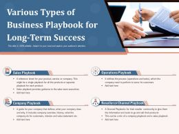 Various Types Of Business Playbook For Long Term Success