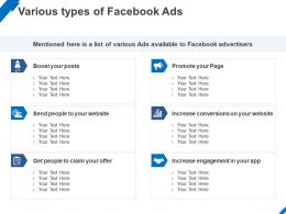 Various Types Of Facebook Ads Ppt Powerpoint Presentation Template