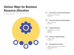Various Ways For Business Resource Allocation