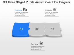 Vb 3d Three Staged Puzzle Arrow Linear Flow Diagram Powerpoint Template