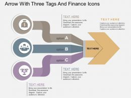 vb Arrow With Three Tags And Finance Icons Flat Powerpoint Design