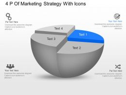 Vc 4P Of Marketing Strategy With Icons Powerpoint Template