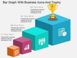 vc Bar Graph With Business Icons And Trophy Flat Powerpoint Design