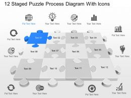Vd 12 Staged Puzzle Process Diagram With Icons Powerpoint Template