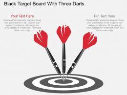 ve Black Target Board With Three Darts Flat Powerpoint Design