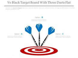 Ve Black Target Board With Three Darts Flat Powerpoint Slides