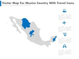 Vector Map For Mexico Country With Travel Icons Powerpoint Slides