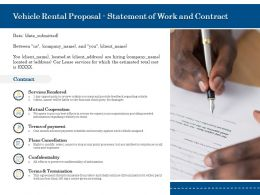 Vehicle Rental Proposal Statement Of Work And Contract Ppt Powerpoint Template