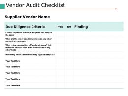 Vendor Audit Checklist Ppt Portfolio Deck