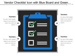 Vendor Checklist Icon With Blue Board And Green Ticks