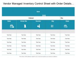 Vendor Managed Inventory Control Sheet With Order Details