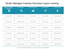 Vendor Managed Inventory Document Layout Covering Purchasing Date Product Code And Item Description