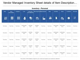 Vendor Managed Inventory Sheet Details Of Item Description Manufacturer Name Values