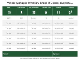 Vendor Managed Inventory Sheet Of Details Inventory Number Purchase Prise Quantity