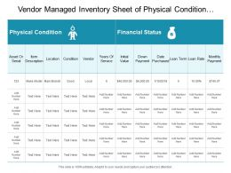 Vendor Managed Inventory Sheet Of Physical Condition And Financial Status