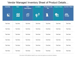 Vendor Managed Inventory Sheet Of Product Details