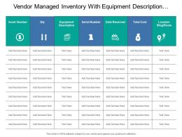 Vendor Managed Inventory With Equipment Description And Cost Details