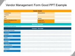 Vendor Management Form Good Ppt Example