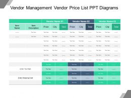 Vendor Management Vendor Price List Ppt Diagrams