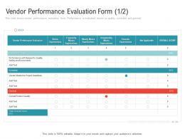 Vendor Performance Evaluation Form Below Embedding Vendor Performance Improvement Plan Ppt Icon