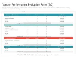 Vendor Performance Evaluation Form Level Embedding Vendor Performance Improvement Plan Ppt Pictures