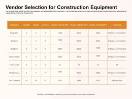 Vendor Selection For Construction Equipment Dump Trucks Ppt Powerpoint Presentation Layouts