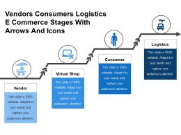 Vendors Consumers Logistics E Commerce Stages With Arrows And Icons