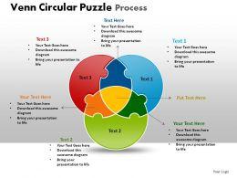Venn Circular Puzzle Process Powerpoint Slides