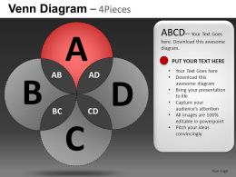Venn Diagram 4 Pieces Powerpoint Presentation Slides DB