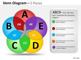 Venn Diagram 5 Pieces colorful ppt 6