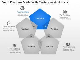 Venn Diagram Made With Pentagons And Icons Powerpoint Template Slide