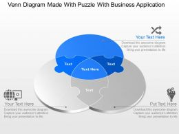 Venn Diagram Made With Puzzle With Business Application Powerpoint Template Slide