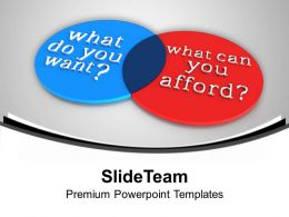 Venn Diagram Of Want And Afford PowerPoint Templates PPT Backgrounds For Slides 0113