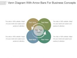 Venn Diagram With Arrow Bars For Business Concepts Ppt Visual