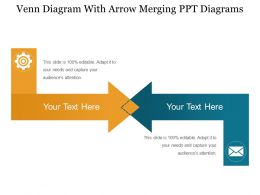 Venn Diagram With Arrow Merging Ppt Diagrams
