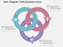 Venn Diagram With Business Icons Flat Powerpoint Design