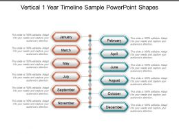 Vertical 1 Year Timeline Sample Powerpoint Shapes