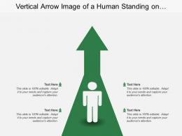 Vertical Arrow Image Of A Human Standing On Upward Arrow