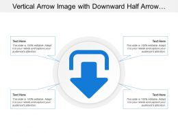 Vertical Arrow Image With Downward Half Arrow And Bordered
