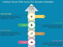 Vertical Arrow With Icons For Growth Indication Flat Powerpoint Design