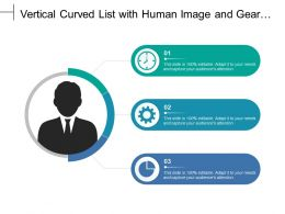 Vertical Curved List With Human Image And Gear Pie Chart Text Boxes