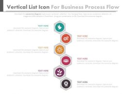Vertical Icons List For Business Process Flow Flat Powerpoint Design