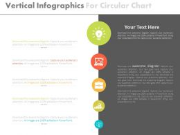 Vertical Infographics For Circular Chart And Icons Flat Powerpoint Design