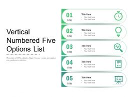 Vertical Numbered Five Options List